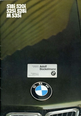 BMW 518i 520i 525i 528i M535i Prospekt 1985