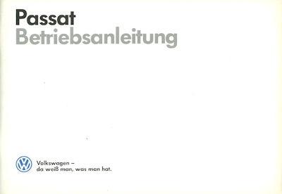 VW Passat B 2 Bedienungsanleitung 7.1986