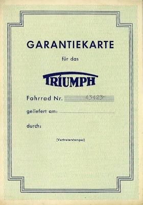 Triumph Fahrrad Garantiekarte 8.1955