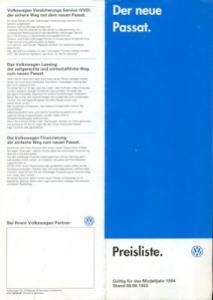 VW Passat B 4 Preisliste 8.1993