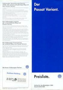 VW Passat B 5 Variant Preisliste 6.1999