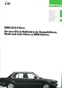 BMW 324d 4-Türer internes Prospekt 6.1985