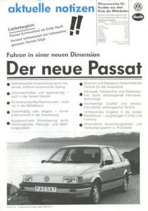 VW Passat B 3 Prospekt 3.1988