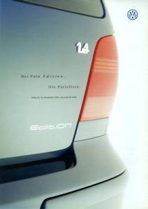 VW Polo 3 Edition Preisliste 6.2000