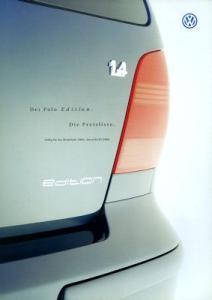 VW Polo 3 Edition Preisliste 7.2000