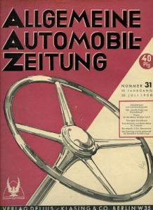 Allgemeine Automobil Zeitung (AAZ) 1938 Heft 31