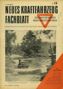 Das Kraftfahrzeug Fachblatt 1949 Heft Nr. 13