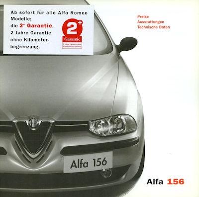 Alfa-Romeo 156 Preisliste 8.2001 0