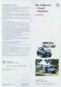 VW T 4 California Exclusive Preisliste 8.1998