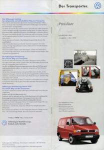 VW T 4 Transporter Preisliste 5.2000 für 2001