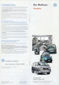 VW T 4 Multivan Preisliste 10.1998