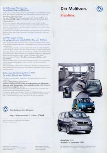 VW T 4 Multivan Preisliste 9.1997