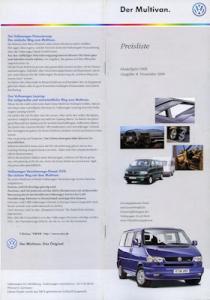 VW T 4 Multivan Preisliste 11.1999