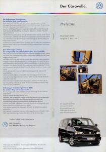 VW T 4 Caravelle Preisliste 5.1999 für 2000