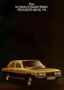 Peugeot 604 SL V 6 internes Prospekt 1976