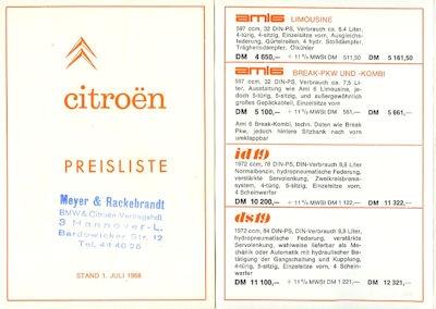 Citroen Preisliste 7.1968 0