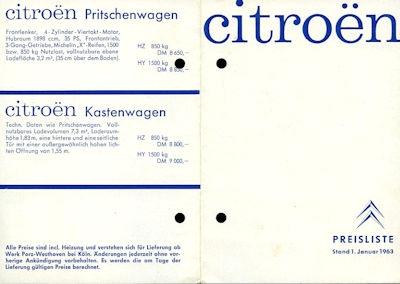 Citroen Preisliste 1.1963 0