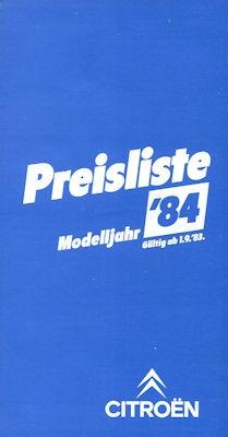 Citroen Preisliste 9.1983 0