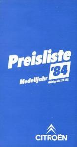 Citroen Preisliste 9.1983