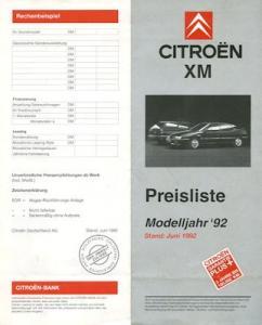 Citroen XM Preisliste 6.1992