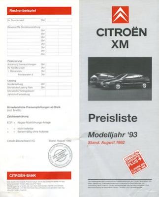 Citroen XM Preisliste 8.1992 0