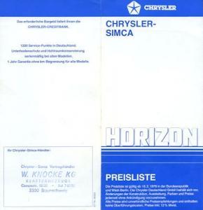Simca Horizon Preisliste 2.1978