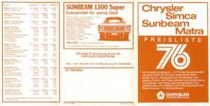 Simca Chrysler Matra Sunbeam Preisliste 1976