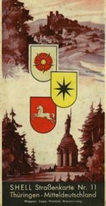Shell Straßenkarte 11 Thüringen 1930er Jahre