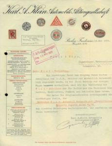 Karl. A. Klein Automobile AG Berlin Brief 1926