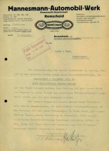 Mannesmann-Automobil-Werk Brief 1927