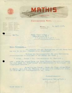 Mathis Zweigwerk Kehl Brief 1927