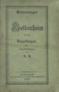 Erinnerungen an Heidenheim und seine Umgebung in 10 Gesängen 1844