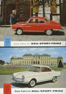2 NSU Sport Prinz Ansichtskarten ca. 1959
