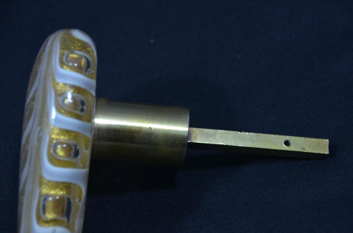 Türgriff, Murano Glas, wohl Archimede Seguso, Messing, Gold und Luftblasen 2