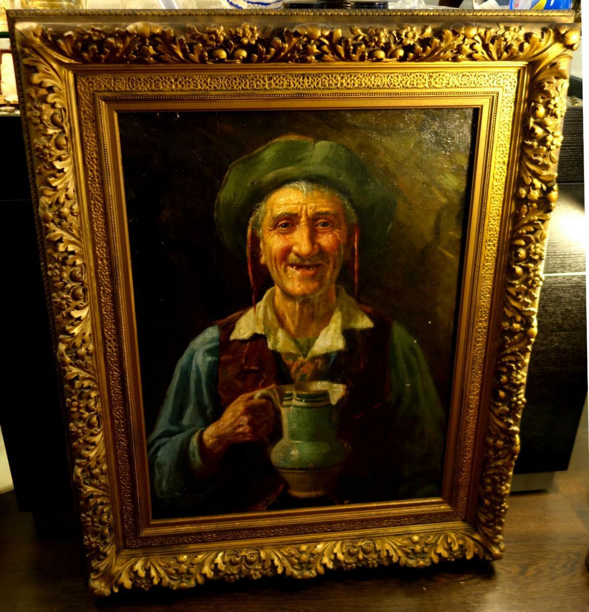 Ölbild,Portrait,italienischer Fischer,Prunkrahmen,19.Jhdt. 0