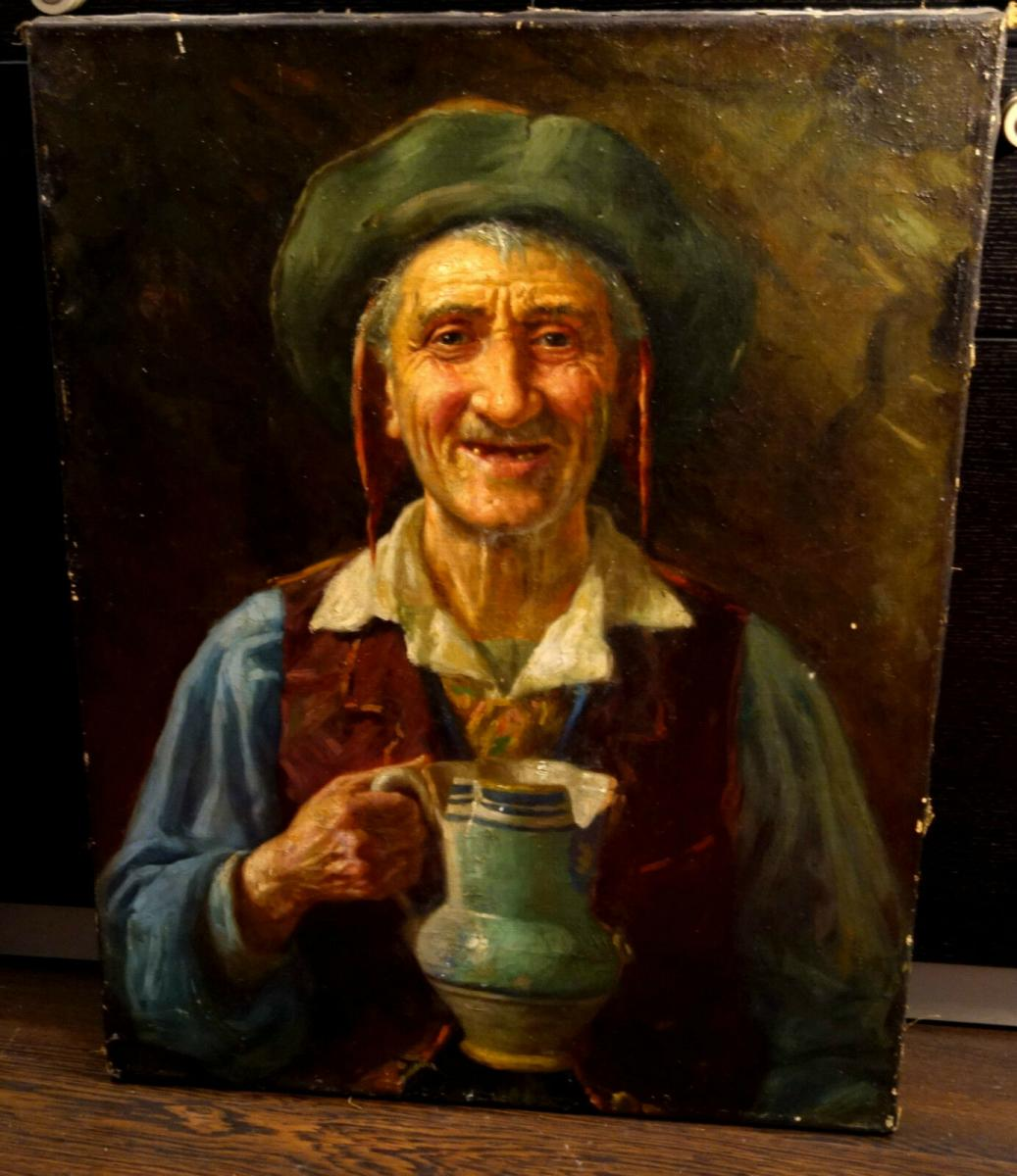 Ölbild,Portrait,italienischer Fischer,Prunkrahmen,19.Jhdt. 1
