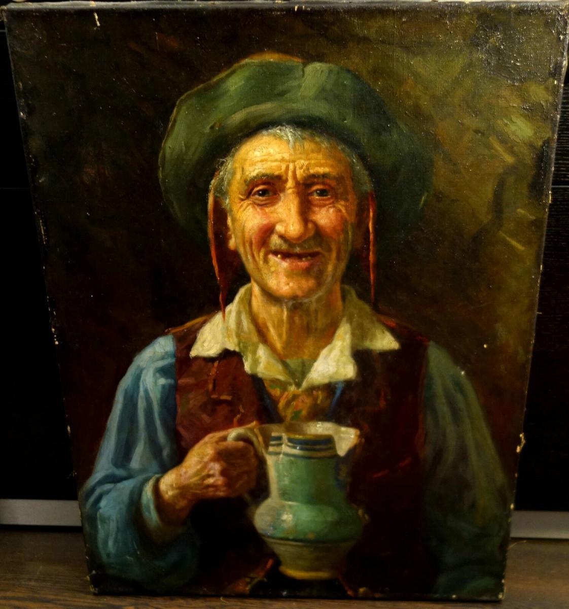 Ölbild,Portrait,italienischer Fischer,Prunkrahmen,19.Jhdt. 3