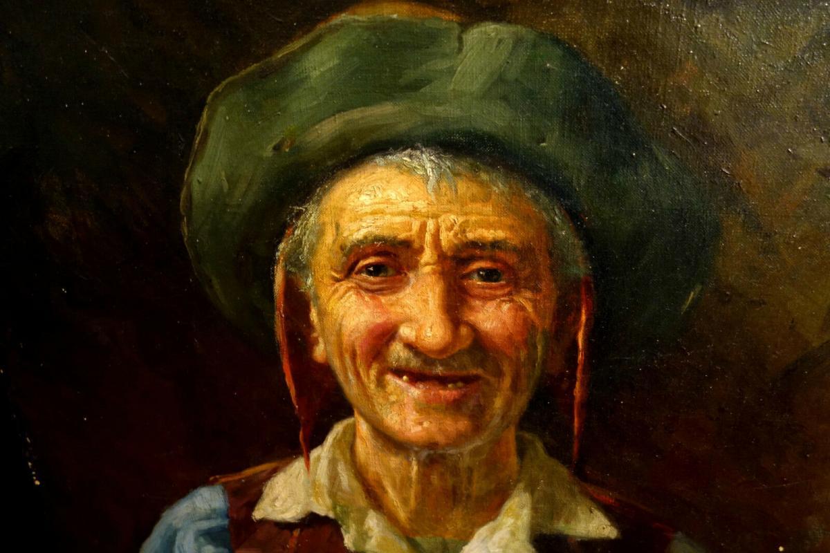 Ölbild,Portrait,italienischer Fischer,Prunkrahmen,19.Jhdt. 4