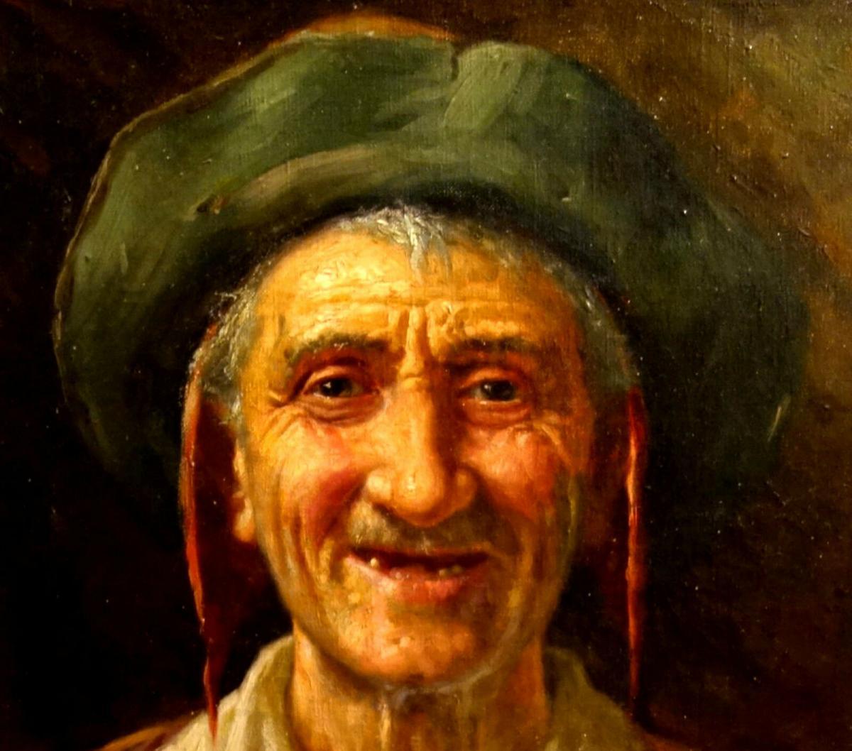 Ölbild,Portrait,italienischer Fischer,Prunkrahmen,19.Jhdt. 5