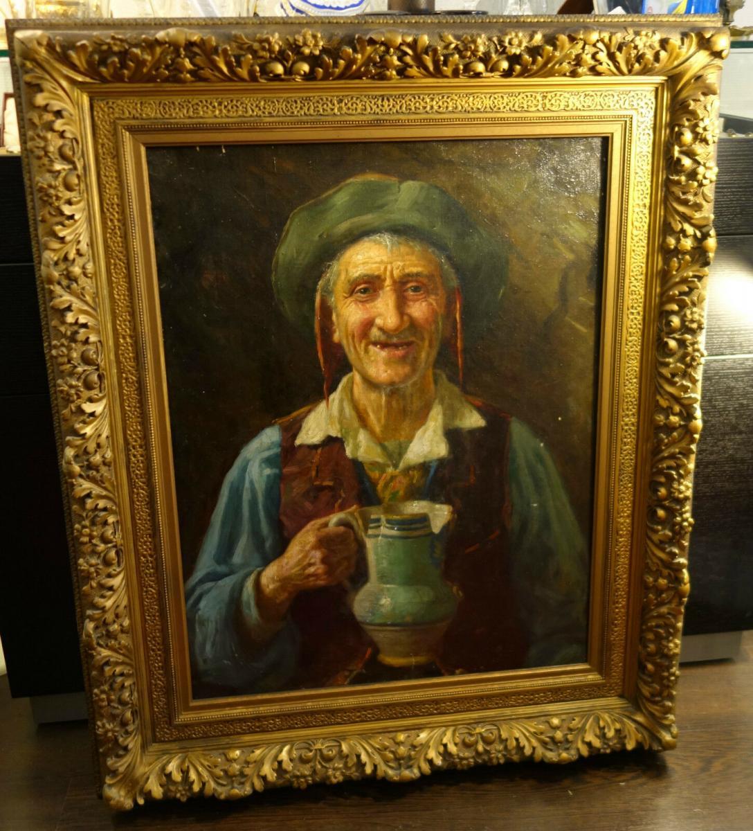 Ölbild,Portrait,italienischer Fischer,Prunkrahmen,19.Jhdt. 6