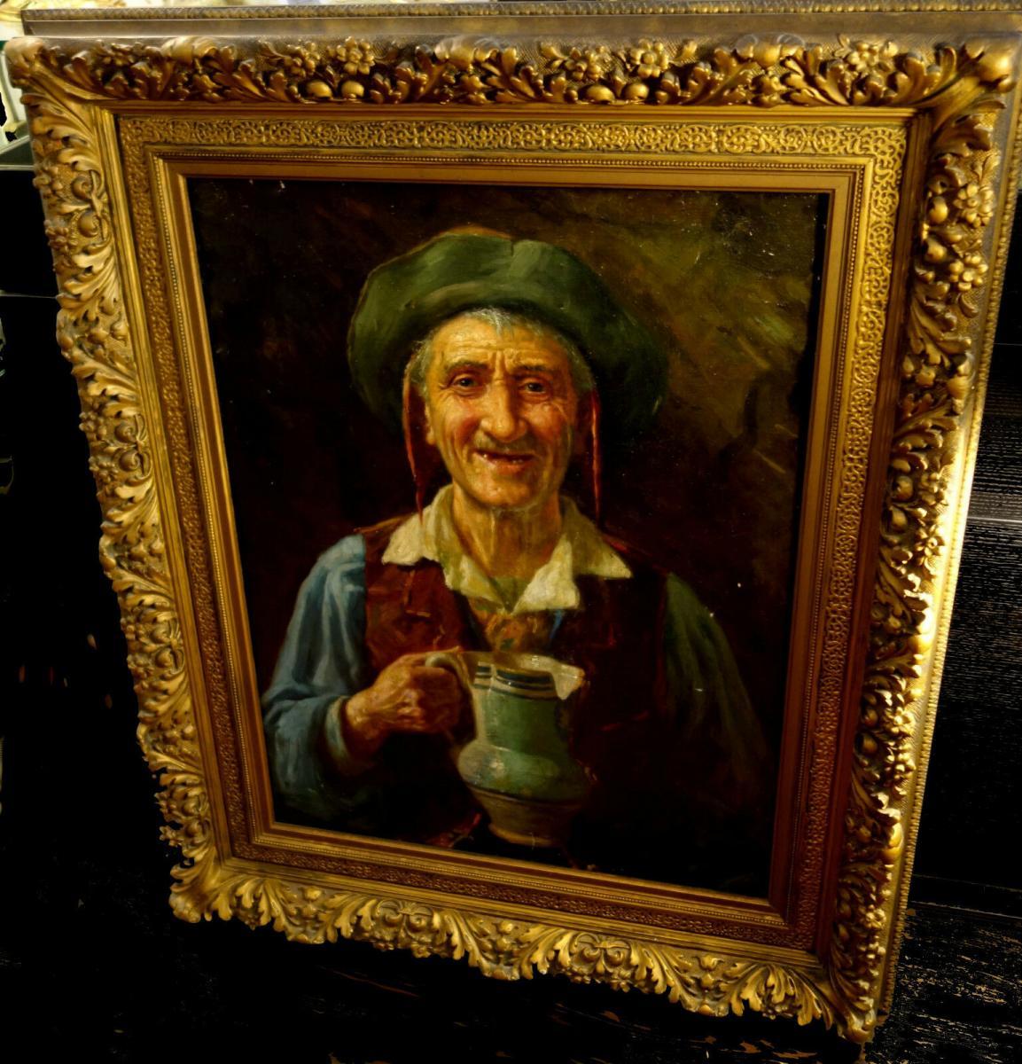 Ölbild,Portrait,italienischer Fischer,Prunkrahmen,19.Jhdt. 7
