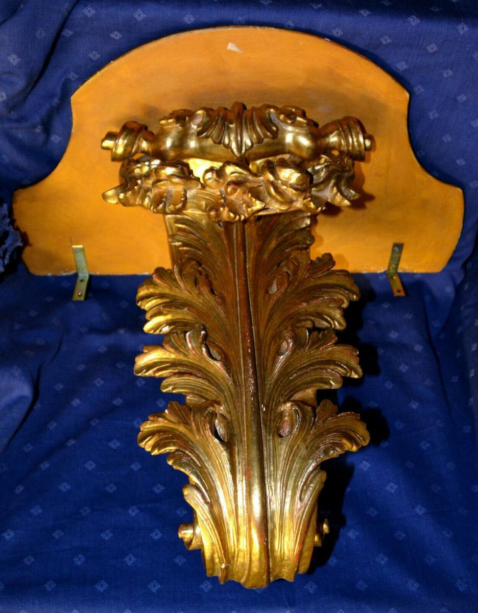Grosse Wandkonsole,aufwendig geschnitzt, gold gefasst,Süddeutsch,Weichholz 2