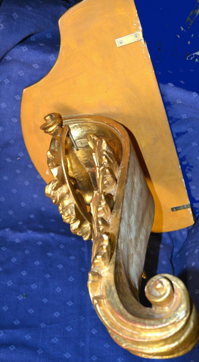 Grosse Wandkonsole,aufwendig geschnitzt, gold gefasst,Süddeutsch,Weichholz 4