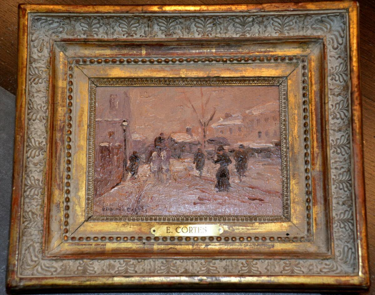 Ölbild,Winter in Paris, Eduardo Cortes,signiert,1882-1969,Impressionist,gerahmt 0