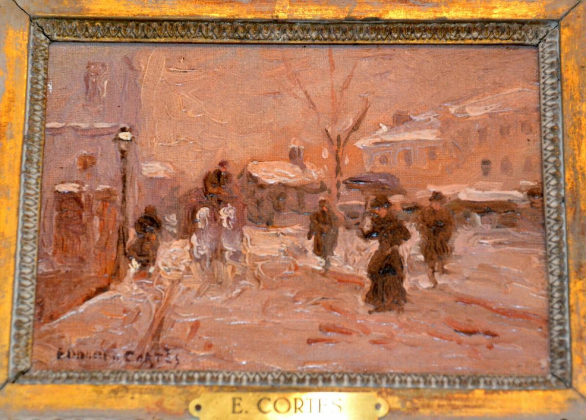 Ölbild,Winter in Paris, Eduardo Cortes,signiert,1882-1969,Impressionist,gerahmt 2