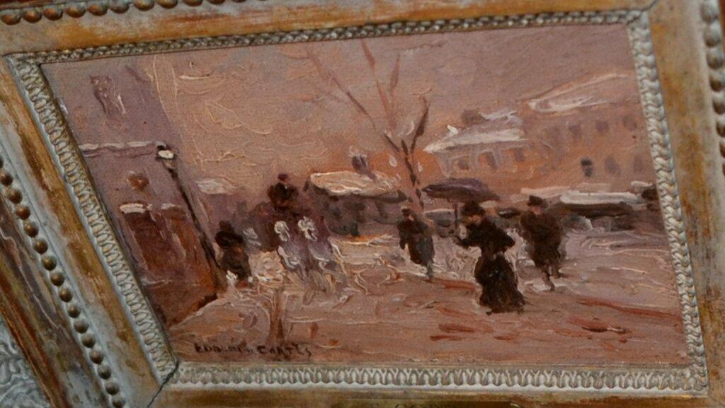 Ölbild,Winter in Paris, Eduardo Cortes,signiert,1882-1969,Impressionist,gerahmt 6