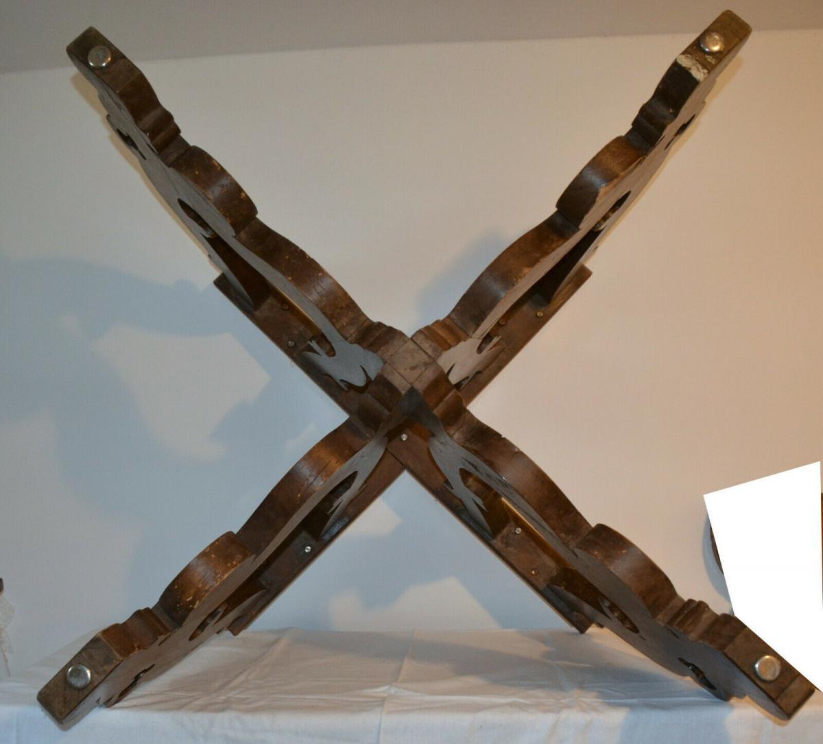 Möbel,runder Bauerntisch, alter Barockfuss, neue Platte,für Restaurator/Bastler 4