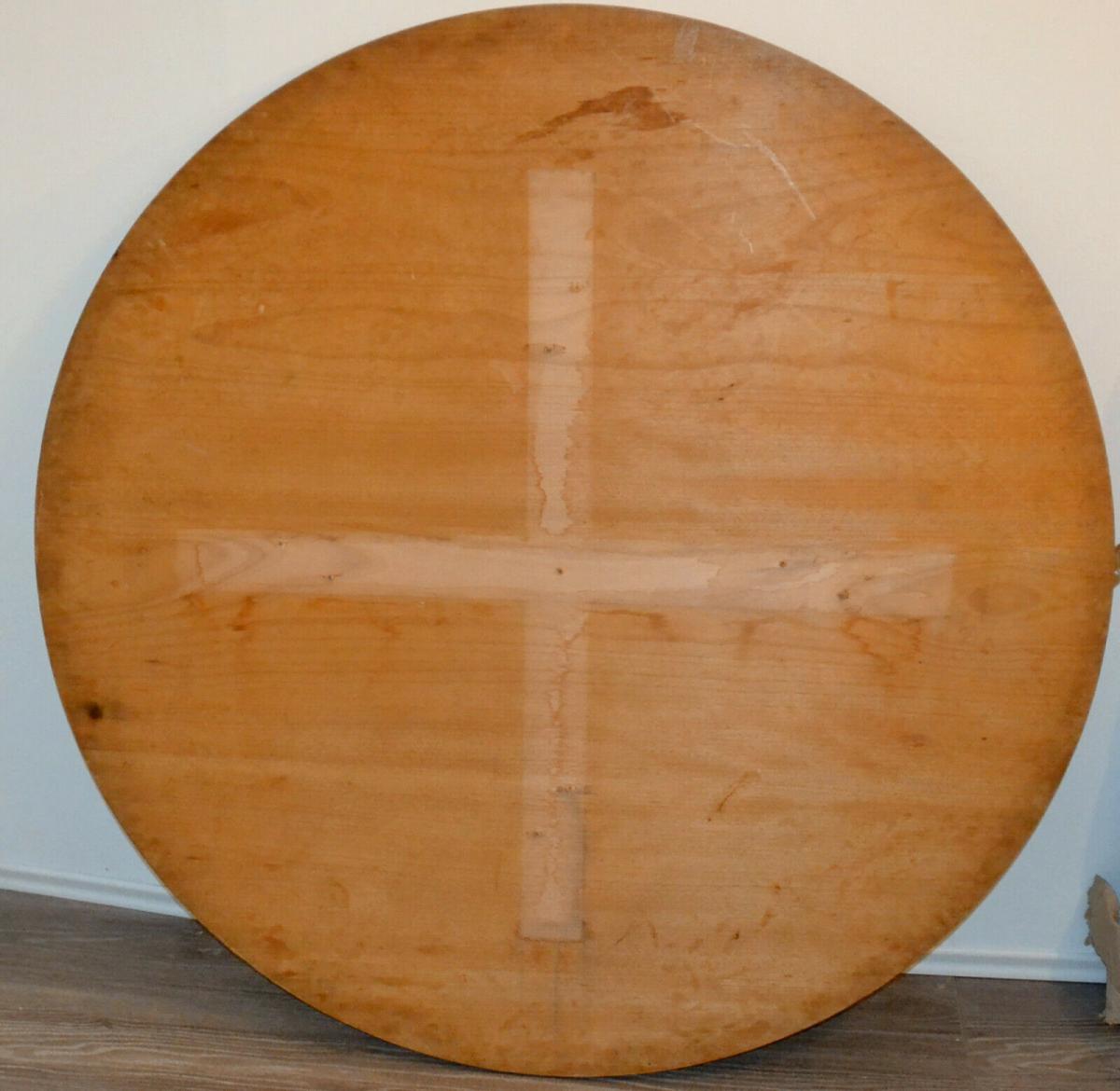 Möbel,runder Bauerntisch, alter Barockfuss, neue Platte,für Restaurator/Bastler 5