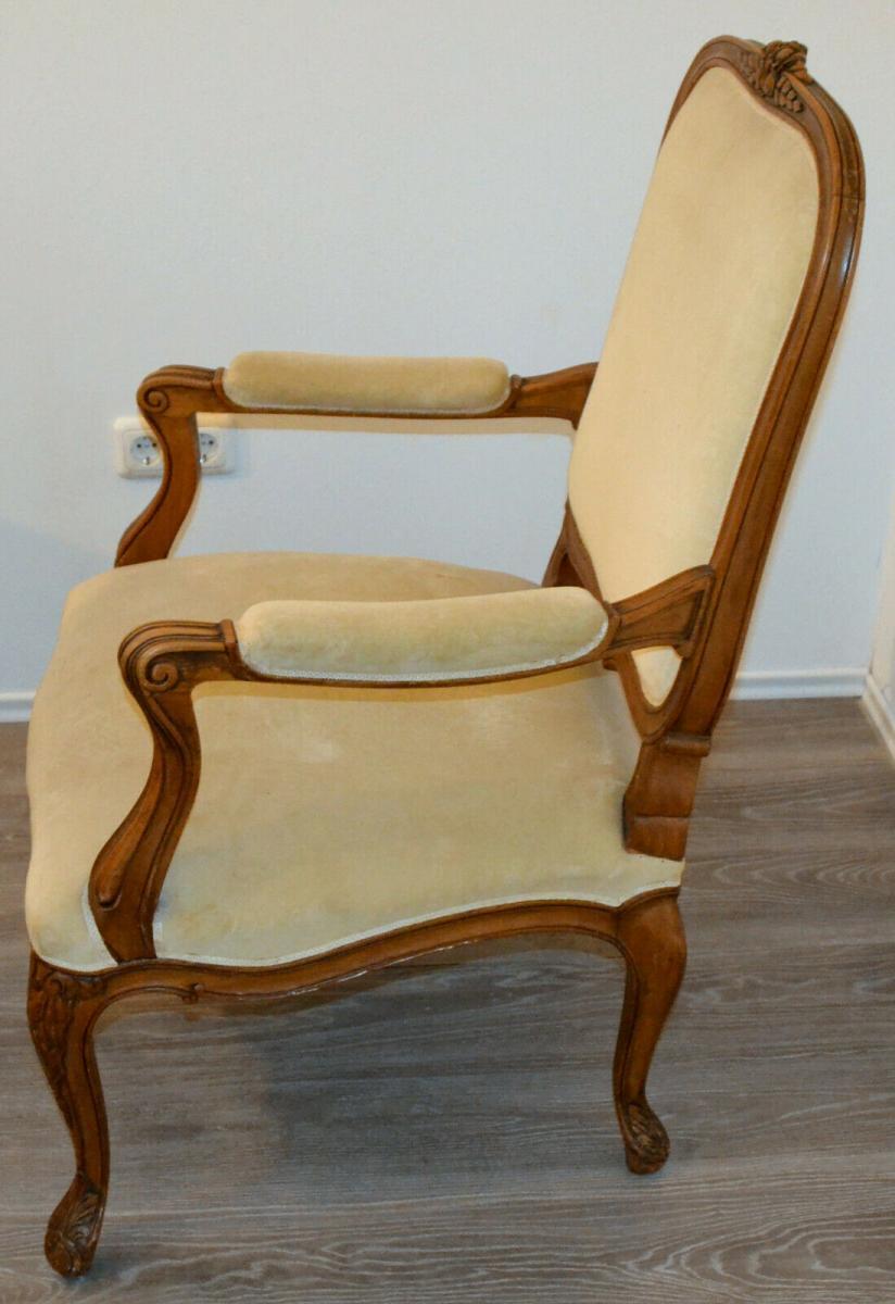 Möbel,Sessel,Rokoko-Stil,Eiche, wohl um 1850,helle Polsterung 1