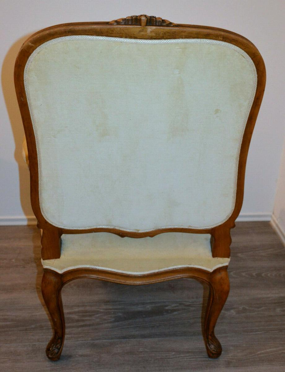 Möbel,Sessel,Rokoko-Stil,Eiche, wohl um 1850,helle Polsterung 2